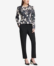 DKNY Floral-Print Peplum Jacket & Skinny Pants, Created for Macy's