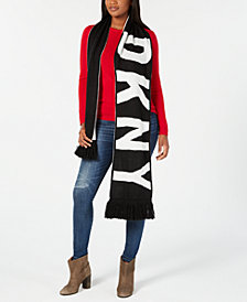 DKNY Bold Logo Fringe Scarf, Created for Macy's