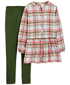 Carter's Little & Big Girls 2-Pc. Plaid Flannel Tunic & Leggings Set