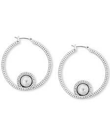 "Lucky Brand Silver-Tone Bead Chain-Textured 1-1/2"" Hoop Earrings"