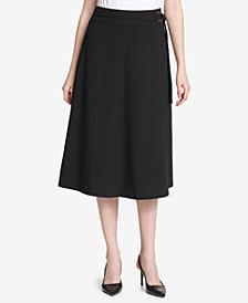 Calvin Klein Belted Scuba Crepe Midi Skirt