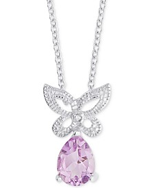 Amethyst (3/4 ct. t.w.) & Diamond Accent Butterfly Pendant Necklace in Sterling Silver