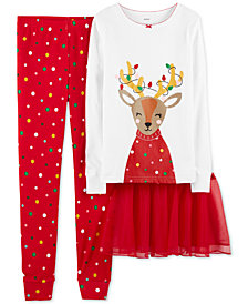 Carter's Little & Big Girls 3-Pc. Reindeer Tutu Pajama Set
