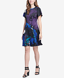 DKNY Printed Flare-Sleeve Dress, Created for Macy's