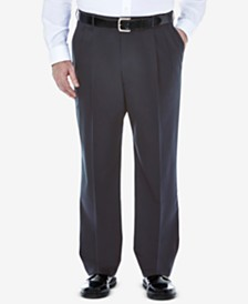 Haggar Men's Big & Tall Premium No Iron Khaki Classic-Fit Pleated Hidden Expandable Waistband Pants