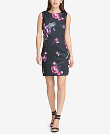 DKNY Floral-Print Scuba Sheath Dress, Created for Macy's
