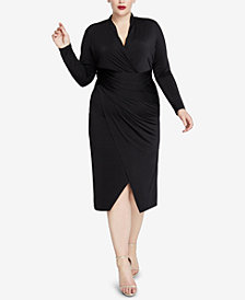 RACHEL Rachel Roy Plus Size Ruched Faux-Wrap Dress