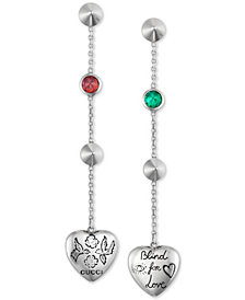 "Gucci Cubic Zirconia ""Blind for Love"" Heart Drop Earrings in Sterling Silver, YBD50210000100U"