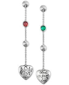"Gucci Cubic Zirconia ""Blind for Love"" Heart Drop Earrings in Sterling Silver"