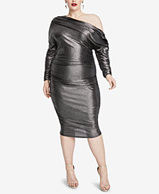 RACHEL Rachel Roy Plus Size Metallic One-Shoulder Dress