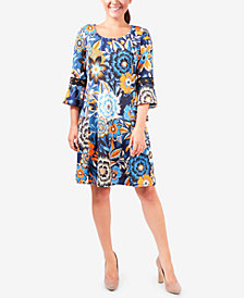 NY Collection Printed Crochet-Trim Dress