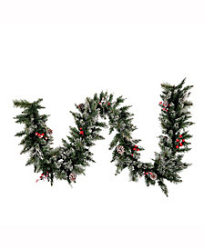 9' Snow Tipped Pine and Berry Christmas Garland Unlit