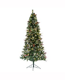 7' Snow Tipped Pine and Berry Artificial Christmas Tree with 350 Warm White LED Lights