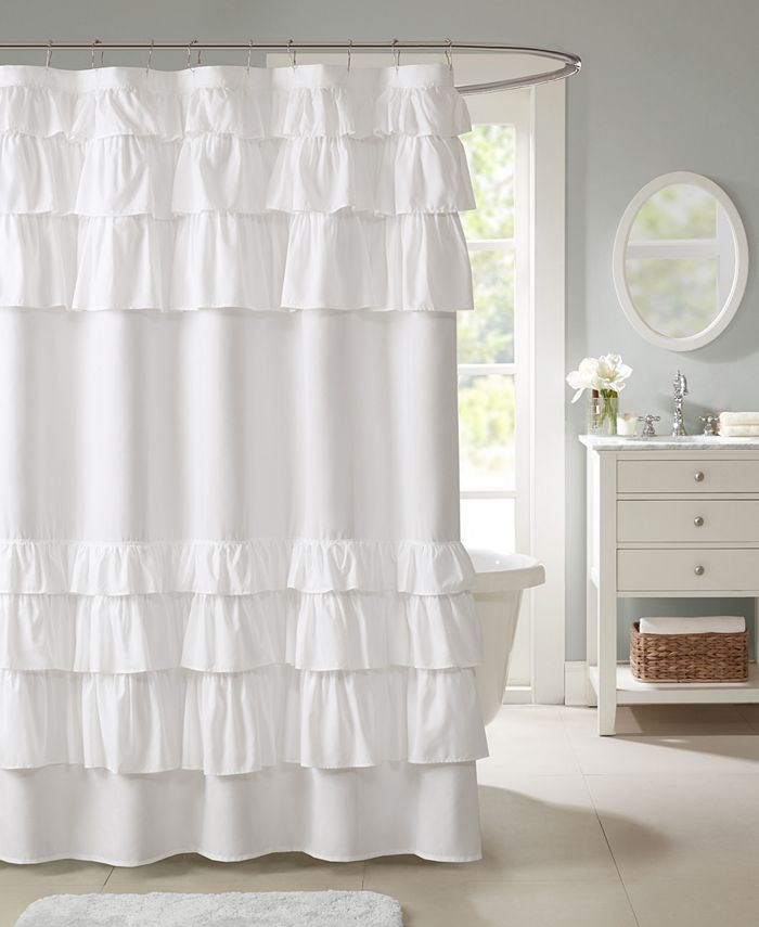 "Madison Park - Grace Ruffled 72"" x 72"" Shower Curtain"