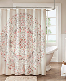 "Madison Park Elise 72"" x 72"" Cotton Printed Shower Curtain"