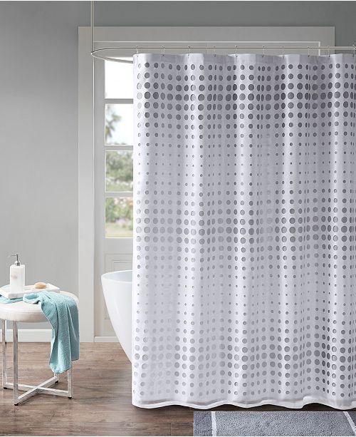 Madison Park Venus 72 X Faux Silk Laser Cut Circle Contrast Shower Curtain