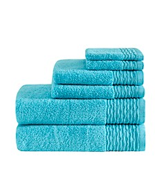 Breeze 6-Pc Jacquard Wavy Border Zero Twist Towel Set