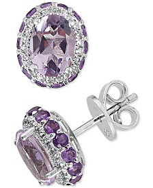 Blue Topaz (4-1/2 ct. t.w.) & White Topaz (1/4 ct. t.w.) Earrings in Sterling Silver (Also Available in Amethyst)