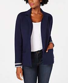 Charter Club Petite Turnback-Sleeve Sweater Blazer, Created for Macy's