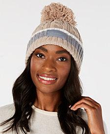 Calvin Klein Pom Pom Cable-Knit Beanie
