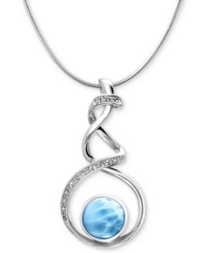 """Larimar (12mm) & White Sapphire Accent Twist 21"""" Pendant Necklace in Sterling Silver"""