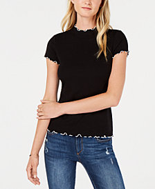 Bar III Mock-Neck Lettuce-Hem Top, Created for Macy's