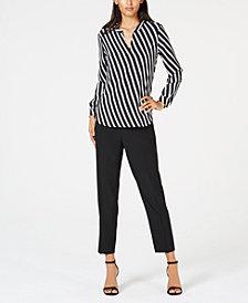 Anne Klein Striped Blouse & Slim-Fit Pants