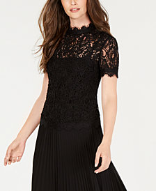 Anne Klein Lace Rope-Detail Top