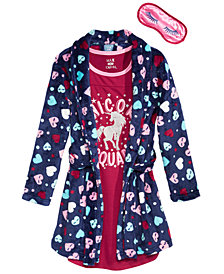 Max & Olivia Big Girls Printed Robe, Graphic-Print Nightgown & Eye Shade