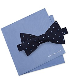 Men's Dot To-Tie Silk Bow Tie & Solid Silk Pocket Square Set