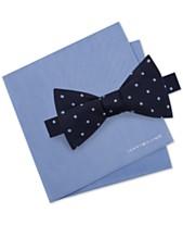 1dd1f67ae803 Tommy Hilfiger Men's Dot To-Tie Silk Bow Tie & Solid Silk Pocket Square Set
