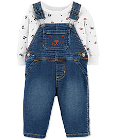Carter's 2-Pc. Baby Boys Printed Bodysuit & Denim Overalls Set