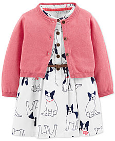 Carter's Baby Girls 2-Pc. Cotton Cardigan & Bulldog Graphic Dress Set
