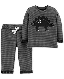 Carter's Baby Boys 2-Pc. Striped Dinosaur Top & Pants Set