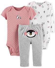 Carter's Baby Girls 3-Pc. Penguin Cotton Bodysuits & Pants Set