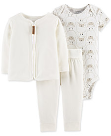 Carter's Baby Girls or Boys 3-Pc. Printed Bodysuit, Fleece Cardigan & Pants Set