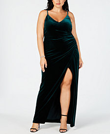 Betsy & Adam Plus Size Velvet Faux-Wrap Gown