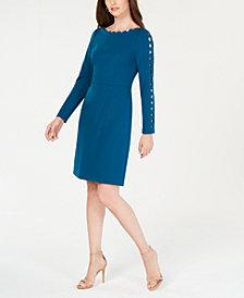 Adrianna Papell Cutout Long-Sleeve Sheath Dress