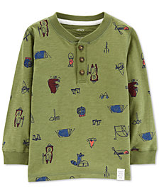 Carter's Baby Boys Camp-Print Cotton Henley T-Shirt
