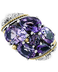EFFY® Amethyst Cluster Ring (5-3/8 ct. t.w.) in Sterling Silver & 18k Gold