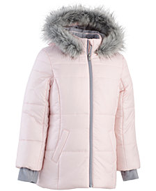 Calvin Klein Big Girls Hooded Puffer Jacket With Faux-Fur Trim