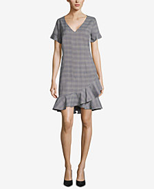ECI Plaid Ruffle-Hem Shift Dress