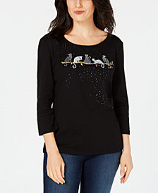 Karen Scott Petite Halloween Spooky Cat Embellished Cotton 3/4-Sleeve Top, Created for Macy's
