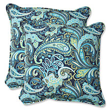 "Pretty Paisley Navy 18.5"" Throw Pillow, Set of 2"