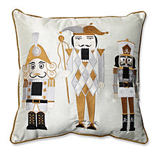 "Holiday Embroidered Nutcrackers Gold/Silver 16.5"" Throw Pillow"