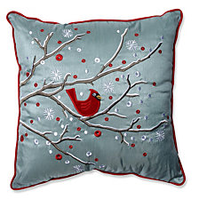 "Holiday Cardinal on Snowy Branch 16.5"" Throw Pillow"