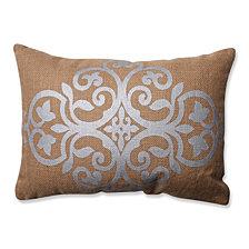 Silver Geometric Tan Burlap Rectangular Throw Pillow