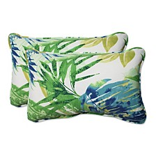 Soleil Blue/Green Rectangular Throw Pillow, Set of 2