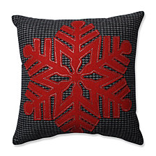 "Single Red Snowflake Black-Red 16"" Throw Pillow"