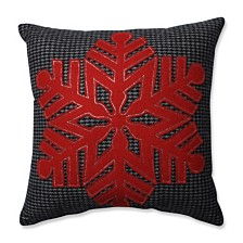 "Single Red Snowflake Black-Red 16"" Throw Pillow"